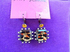 Betsey Johnson Authentic NWT Hollywood Glam Leopard Brown/Crystal Drop Earrings