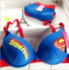 Selling cotton underwear gather cute girl underwear Superman bra set#5-8089