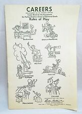 RARE ORIGINAL 1958 PARKER BROTHERS CAREERS GAME INSTRUCTIONS - GOOD CONDITION