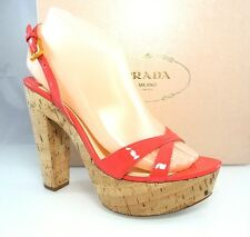 $790 PRADA CORK Platform Coral Pink Slingback Sandals Heel Womens Shoes 35.5 5.5