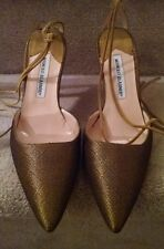 Manolo Blahnik ankle wraparound HH in gold/olive fabric, size 38