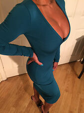 Sexy Teal Green Long Sleeve Deep V Neckline w/ Front Slit skirt detail L