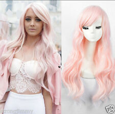 Female Wavy no Lace Wig fashion long curly light pink hair full wigs (⊙o⊙)*