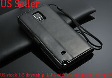 Black Genuine Leather Flip Wallet Stand Case Cover For Samsung Galaxy Note 4