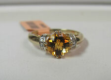 10KT Yellow Gold Gorgeous Fantasy Cut Citrine & Diamond Ring Size 7 W/Sale R6676