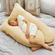 U Shaped Contoured Body Pregnancy / Maternity Pillow w/ Zippered Cover Beige