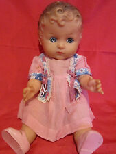 "Vintage 1940""s Reliable Vinyl Baby Doll14"" Molded hair Sleepy eye Made in Canada"