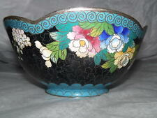 Antique Signed Silver Plated Multi Color Cloisonne Floral Bowl Dish