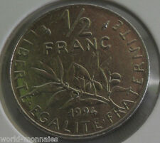 50 centimes semeuse 1994 dauphin : TTB : pièce de monnaie française