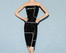 GLISTENING Black & Silver Abstract UNIQUE Party Dress for BARBIE Clothes -G4