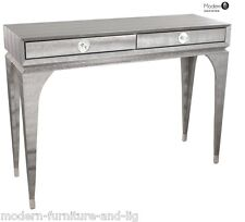 MODERN GREY FAUX SNAKESKIN 2 DRAWER CONSOLE TABLE, GREY DRESSING TABLE