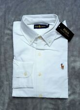 Ralph Lauren Mens White Slim Fit Long Sleeve Oxford Shirt Formal Large L
