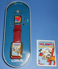 Vtg Lorus Disney Mickey Minnie Mouse Building wrist watch 9""