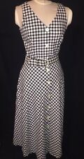 Vtg 80's Womans Black White Button Up Checkered Modest Belted Maxi Dress M/L