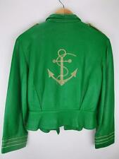 Lillie Rubin Green Leather Jacket Military Nautical Gold Anchor Embroidery 10