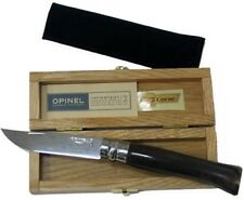 Opinel No. 8 Wooden Box Mirror Polished Blade Folding Black Horn Handle 000980