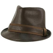 Men's Winter Fall Faux Fake Leather Fedora Trilby Derby Crushable Hat Brown S/M
