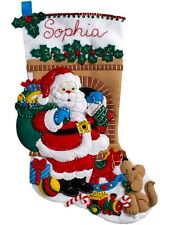 "Bucilla Felt Applique Kit 18"" Stocking ~ SANTA'S VISIT #86702 Sale"