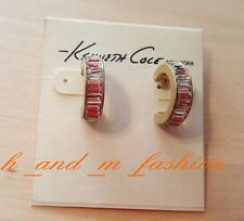 Kenneth Cole New York Gold Tone Faceted Bead Hoop Earrings NEW with Tag/ Box!