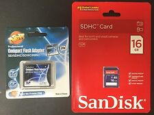 Sandisk 16GB SD + SDHC/SDXC to CF Type II Adapter Reader