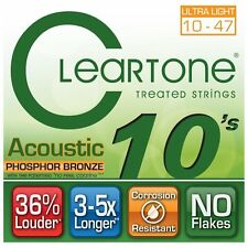 Cleartone 7410 Phosphor Bronze Acoustic Guitar Strings 10-47 extra light gauge