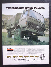 5/1982 PUB RENAULT VEHICULES INDUSTRIELS TRM 2000 MILITARY FRENCH TRUCK AD