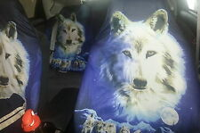 NWT Beautiful Front/Back Seat Cover White Wolf Landscape Car SUV Truck Jeep