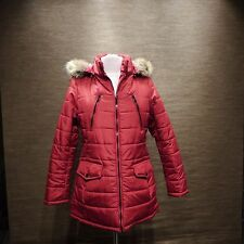 Celebrity Pink Faux-Fur-Trim Puffer Coat-Size L- #W7- Red
