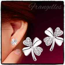 925 Sterling Silver 4 Leaf Clover Shamrock Rhinestone Butterfly Stud Earrings