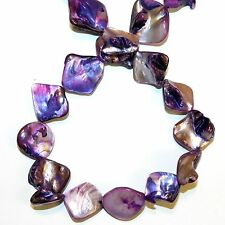 MP1136L Purple Diamond Nugget 16-20mm Mother of Pearl Gemstone Shell Beads 15""