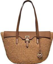 $298 Michael Kors STRAW NAOMI Walnut Large Tote Shoulder Bag Handbag Purse NEW