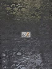 VIPER SOPYTHANA EMBOSSED SNAKE SKIN VINYL LEATHER FABRIC - Death Black - BY YARD