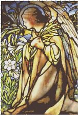 Stained Glass Angel in Garden Cross-Stitch Pattern - BUY 3 PATTERNS GET 3 FREE!