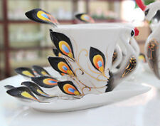 Black Peacock Ceramic Cafe Coffee Set/Tea Set 1Cup/1Saucer/1Spoon Mug Daily Use