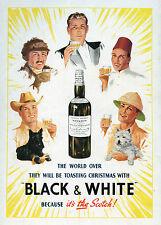 SCOTTISH TERRIER WEST HIGHLAND WHITE Westie Scottie DOG Black & White Whisky Ad