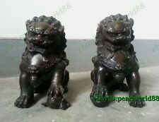 Antique Door fengshui Archaic Bronze Guardion Lion Foo Dogs lucky Old Statues