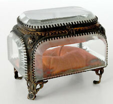 1800's Antique CLEAR CRYSTAL Glass ORMOLU Hinged-Lid JEWELRY CASKET Trinket Box