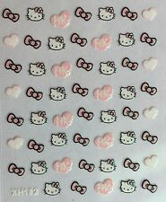 Nail Art 3D Decal Glitter Stickers Hello Kitty Hearts Bows HK XF182
