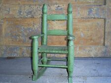 Antique Woven Splint Seat Ladder Back Child's Doll Rocking Chair Old Green Paint