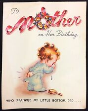 Vintage Used Mother Birthday Card 1947 Who Spanked My Little Bottom Red…!!!