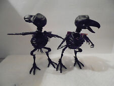 2 Poseable Black Crows Skeletons Prop Halloween Fake Ravens Parrot Comical 2016