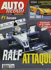 AUTO HEBDO n°1399 du 2 Juillet  2003 GP EUROPE LAMBORGHINI GALLARDO