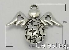 2 x Large Antique Silver Angel Charms / Pendants Love Heart Wings