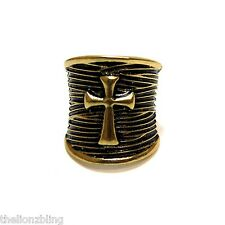 Chunky Gothic Hip Hop Antique Bronze Cross Stretch Bling Ring