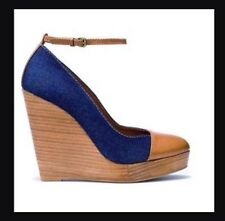 Zara Tan & Denim Platform / Wedge Shoes By ZARA 4 UK 37 EUR NEW heels