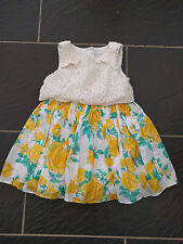 BABY K BY MYLEENE KLASS GIRLS YELLOW FLORAL CREAM LACE DRESS 2-3 YEARS