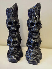 Pair of SKULL Candle Holder Ornaments- Gothic Halloween Pagan