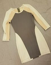 Silence + Noise URBAN OUTFITTER Color Block Bodycon Gray White Pink Dress Medium