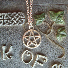 "Pentagram Pendant Silver Plated 18"" Chain Necklace - Wicca Pagan Goth"