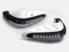 WHITE Motorbike Quad Bike Handguards Protectors With LED Daytime Running Lights